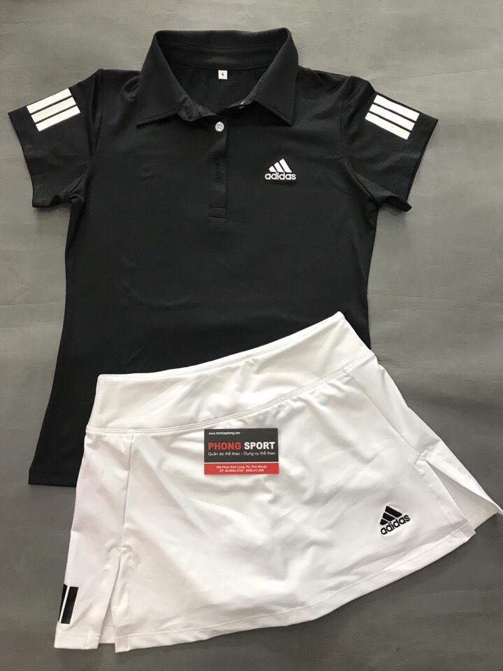 Bộ Tennis Nữ Adidas Chân Váy Trắng Áo Đen