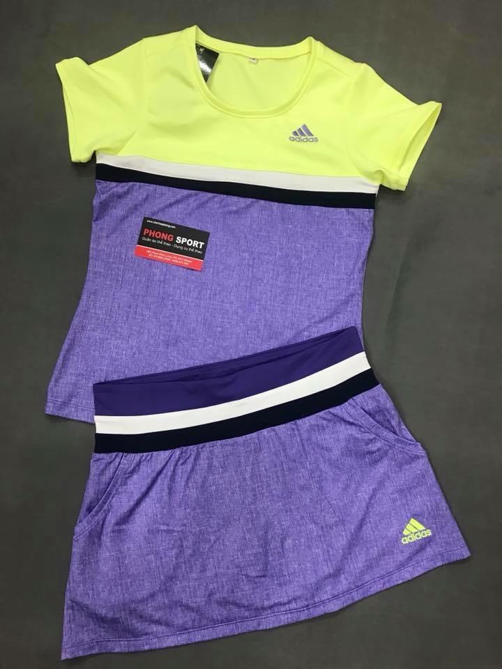 Bộ Tennis có chân váy adidas Tím neon
