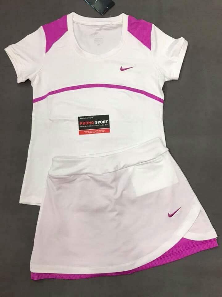 Bộ Tennis nữ Nike Trắng Tím