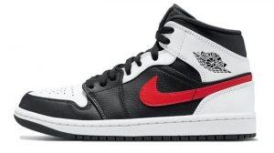 Air Jordan 1 Mid GS White Black Red