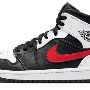 Air Jordan 1 Mid GS White Black Red