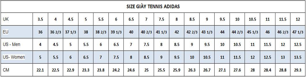 size giay tennis adidas