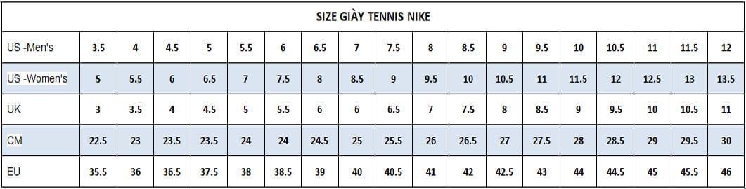 size giay tennis nike
